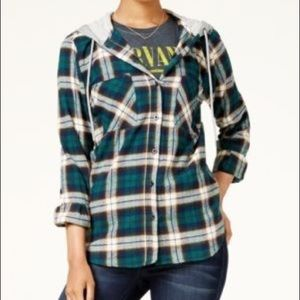 Polly & Esther Plaid Button Down Hoodie